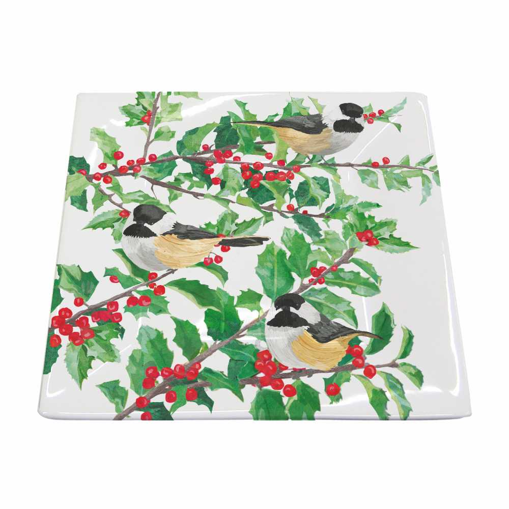 Yuletide Chickadees (White) Square Plate