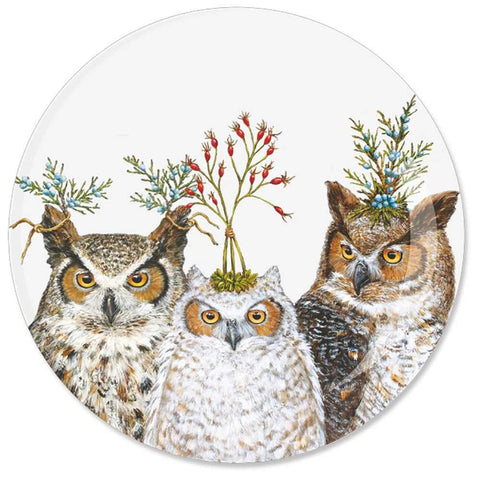 "Holiday Hoot 7"" Round Appetizer Plate"