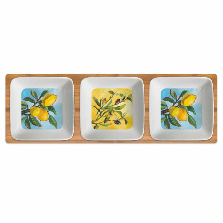 Lemon / Olive Musée Canvas Tote Bag Dipping Dish Set