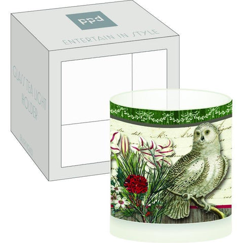 Winter Woods Owl Boxed Tea Light Holder (min.6)