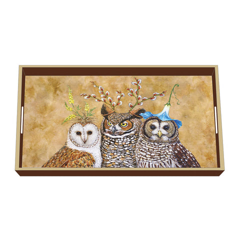 Owl Family Wood Lacquer Vanity Tray