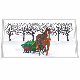 Winter Horse Sleigh Wood-Lacquered Vanity Tray