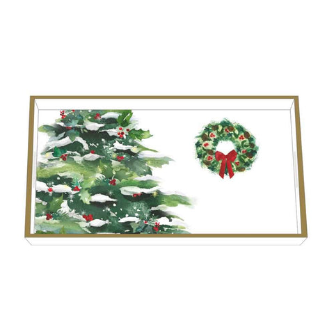 Winter Tree & Wreath Wood-Lacquered Vanity Tray