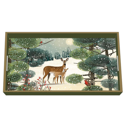 Holiday Meadow Wood Lacquer Vanity Tray