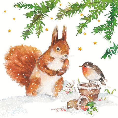 Squirrel & Robin Beverage Napkins