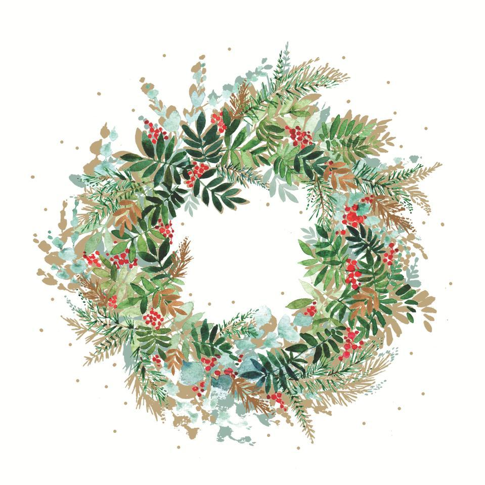 Christmas Hill Wreath Beverage Napkins