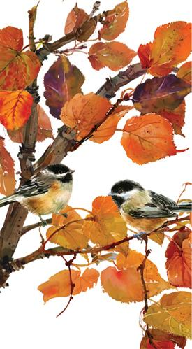 Autumn Birds Guest Towel (min.12)