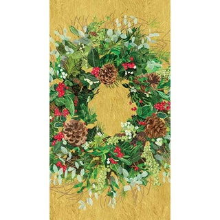 Yuletide Wreath, Gold Guest Towel