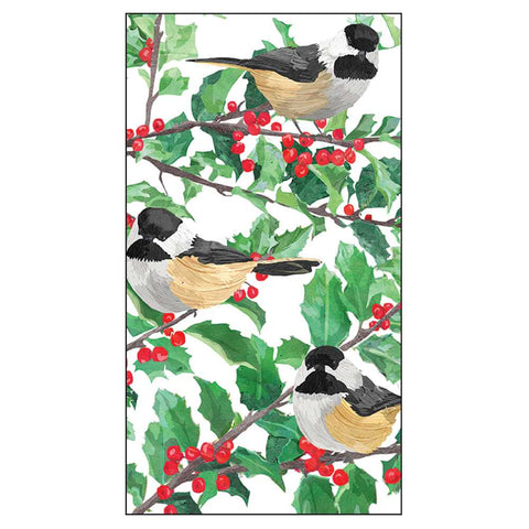 Yuletide Chickadees (White) Guest Towel