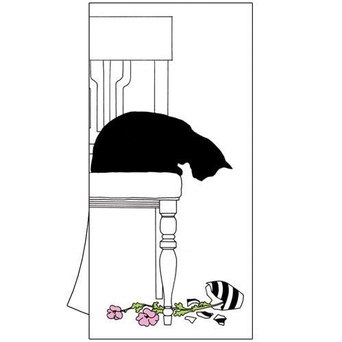 Black Cat Vase Kitchen Towel