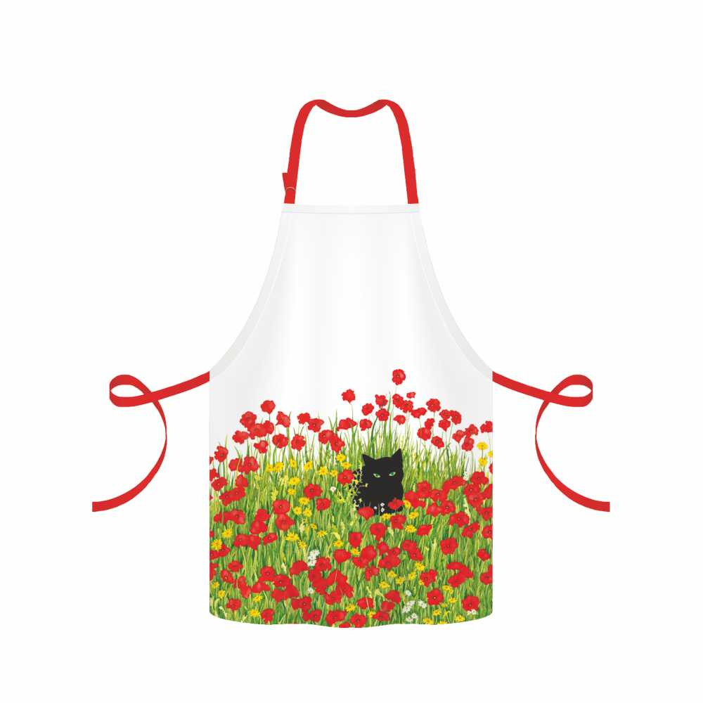 Black Cat Poppies Apron