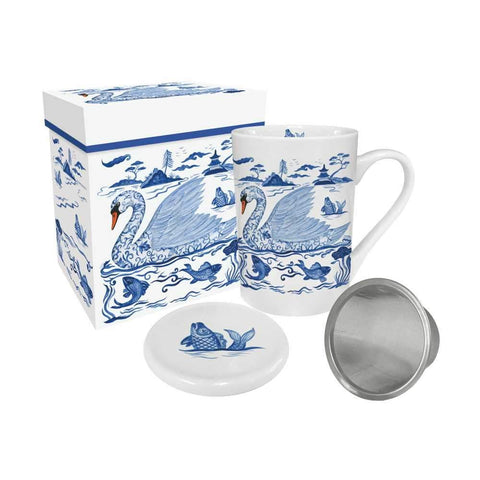 Empress' Swan Gift-Boxed Tea Mug with Lid & Strainer