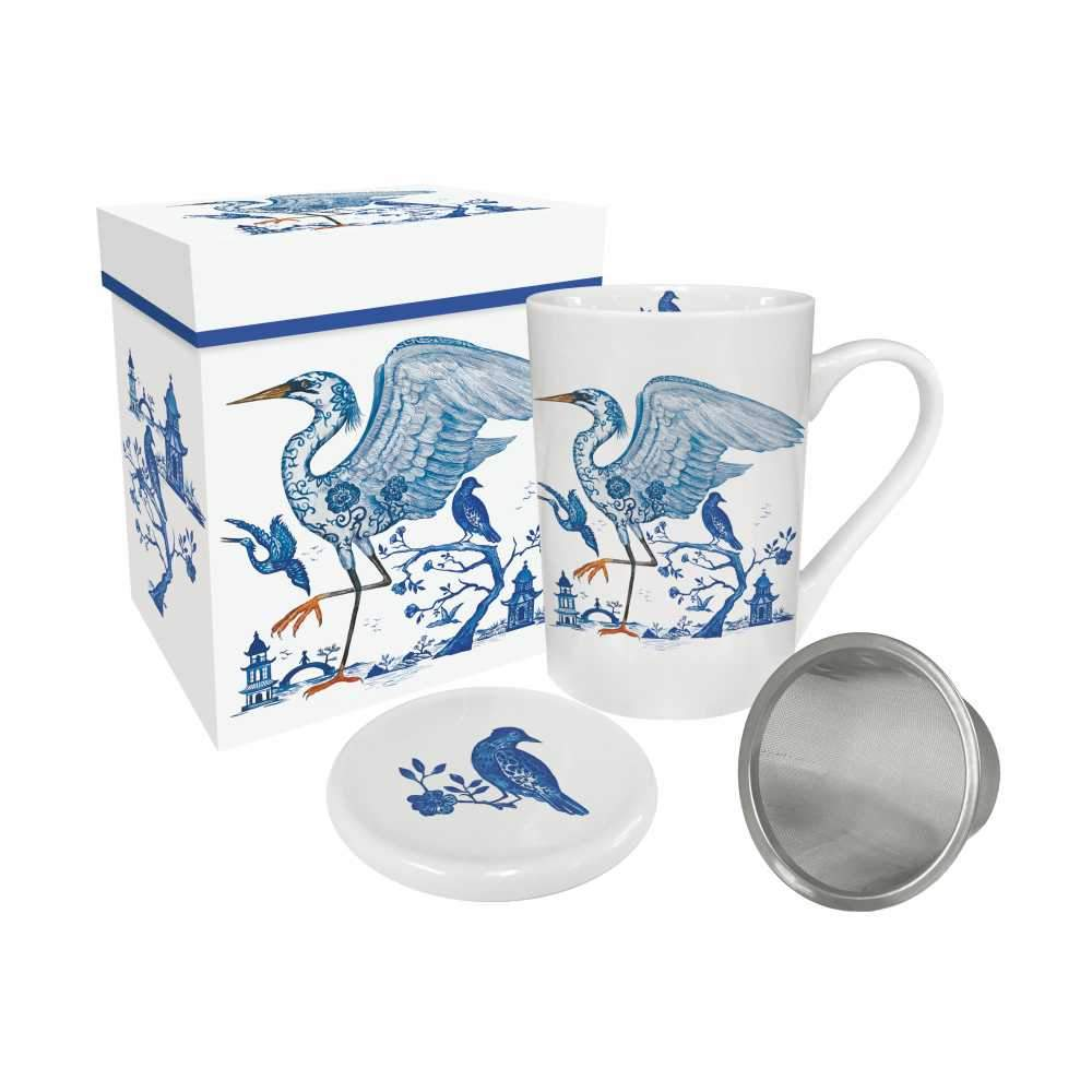 Prince's Egret Gift-Boxed Tea Mug with Lid & Strainer