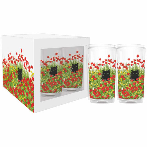 Black Cat Poppies Drinking Glasses, Set of 4