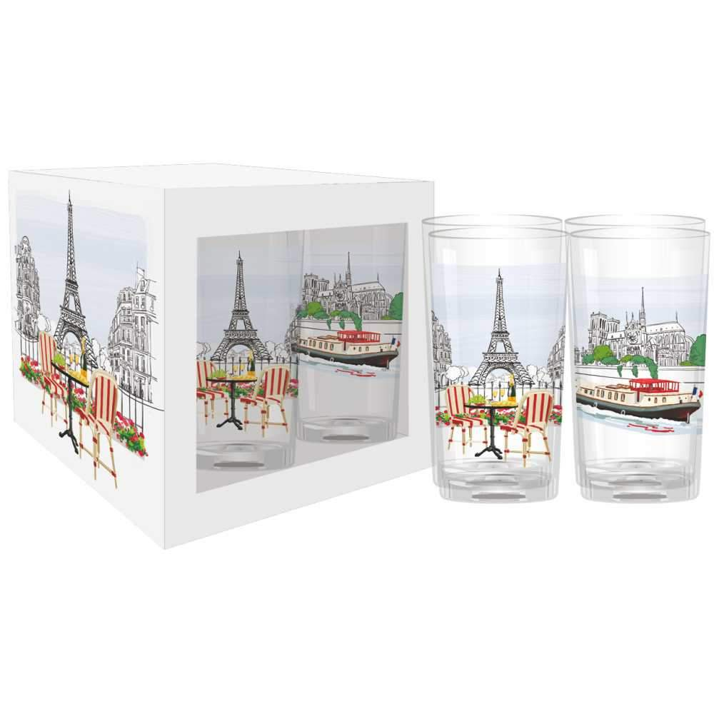 La Vie Parisienne Drinking Glasses, Set of 4