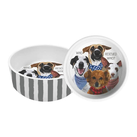 "Who Rescued Who? 8"" Pet Bowl"