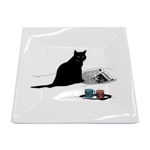 Black Cat Journal Square Plate