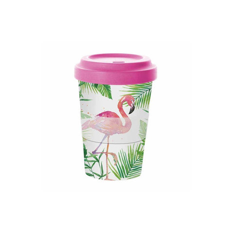 Tropical Flamingo Bamboo Travel Cup with Lid