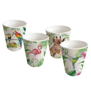 Tropical Flamingo Bamboo Tumbler, Set of 4