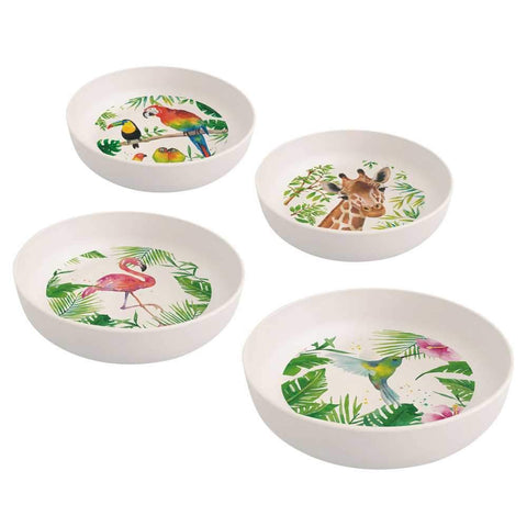 Tropical Flamingo Bamboo Bowl Set