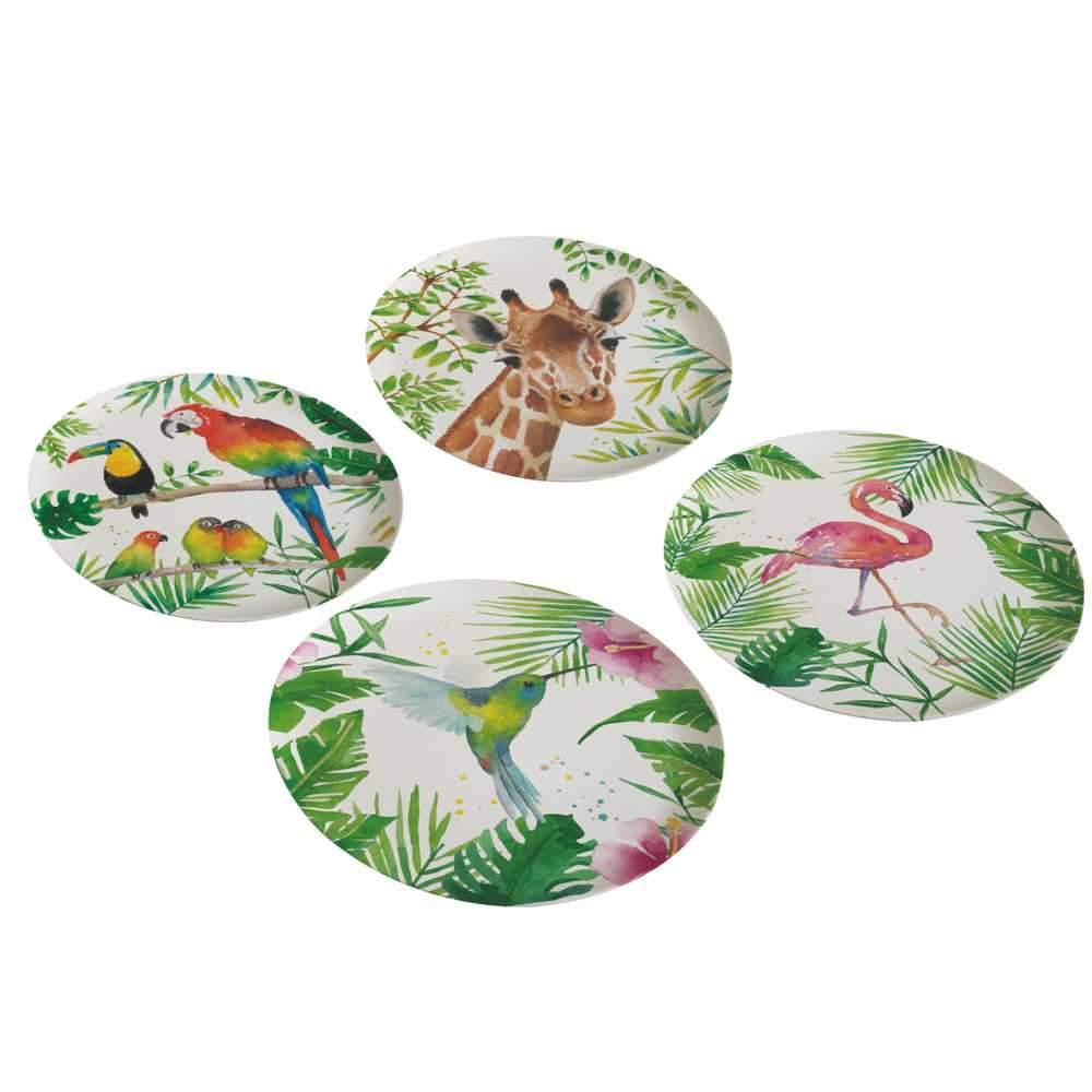 Tropical Flamingo Bamboo Plate Set