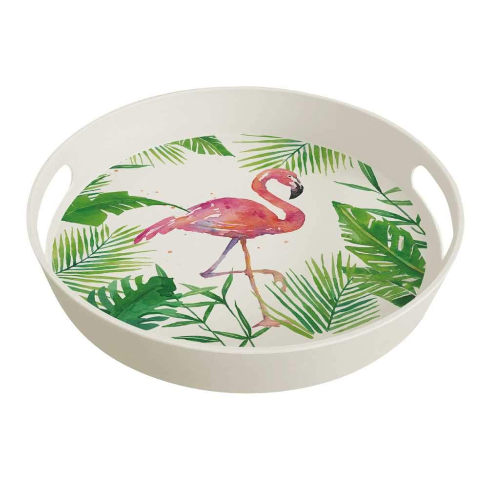 Tropical Flamingo Bamboo Tray