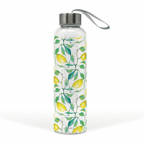 Beautiful Lemons Glass Water Bottle