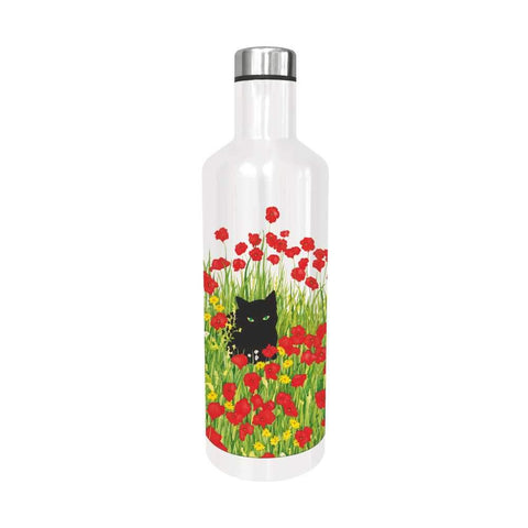 Black Cat Poppies Water Bottle