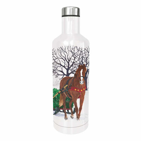 Winter Horse Sleigh Water Bottle