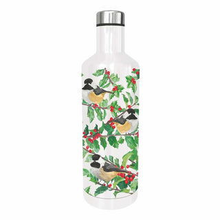 Yuletide Chickadees (White) Water Bottle