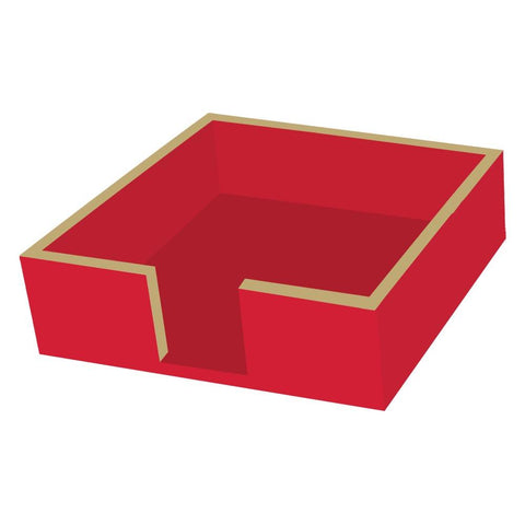 Beverage Napkin Holder Wood Red/Gold (min.3)