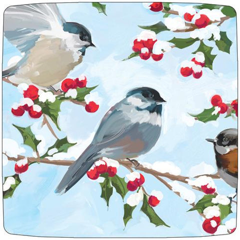 "Chickadees & Holly 10"" Paper Plate (min.12)"