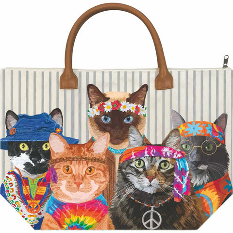 Groovy Cats Canvas Tote Bag