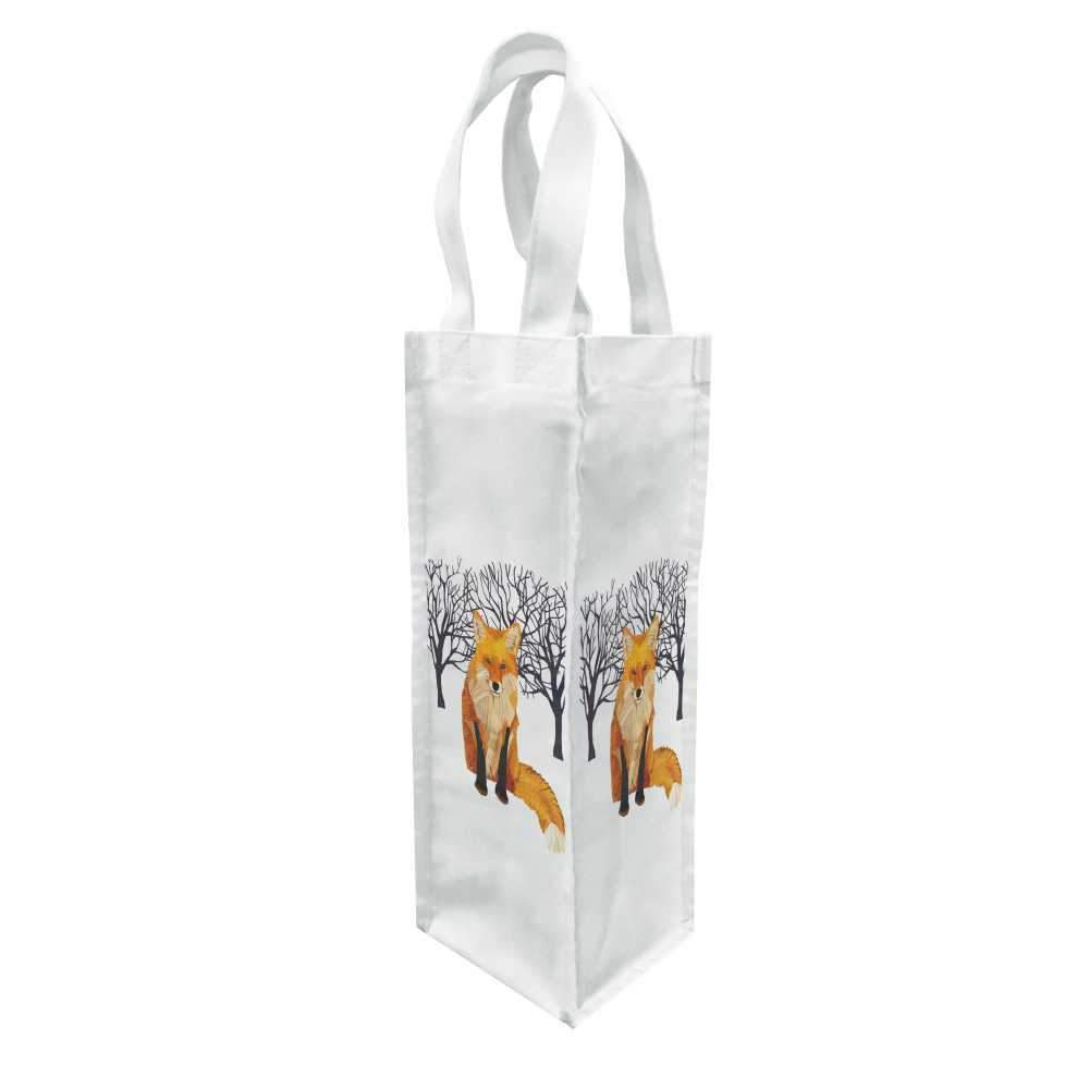 Winter Fox Canvas Bottle Bag
