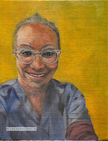 Oil portrait painting of Dr Karen Oso - Portrait for NHS Heroes
