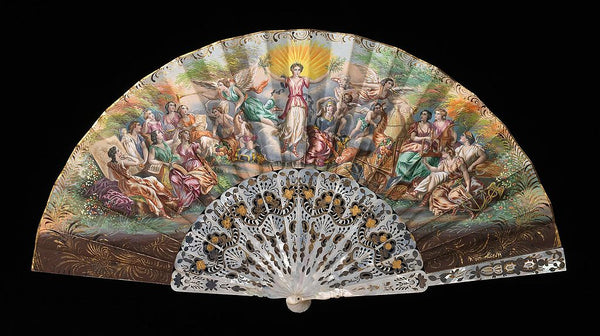 A European Victorian era folding hand fan, depicting angels and people, courtesy of WikiMedia Commons.