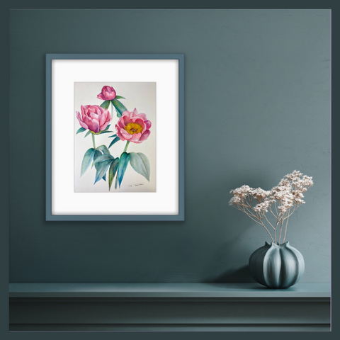 The Peony Girl botanical art painting or limited edition botanical art prints on the wall, home decoration