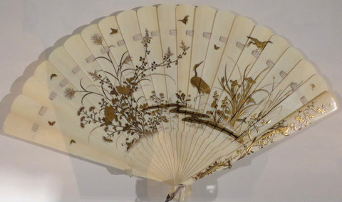Japanese fan, c. 1835-45, made in ivory, courtesy of WikiMedia Commons