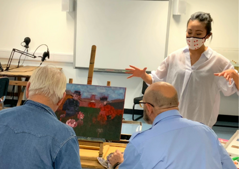The Peony Girl Workshop at the Royal Hospital Chelsea painting for an auction