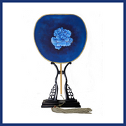 Silk Hand Fan - Porcelain Blue - The Peony Girl