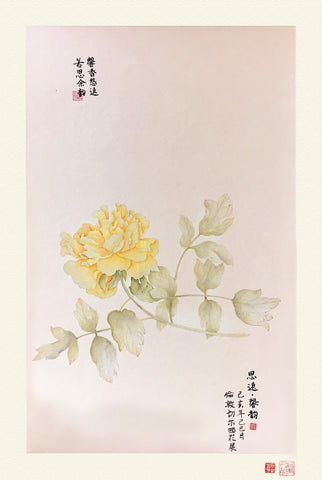 Fine Art Prints: Peony Portrait - Yellow - The Peony Girl