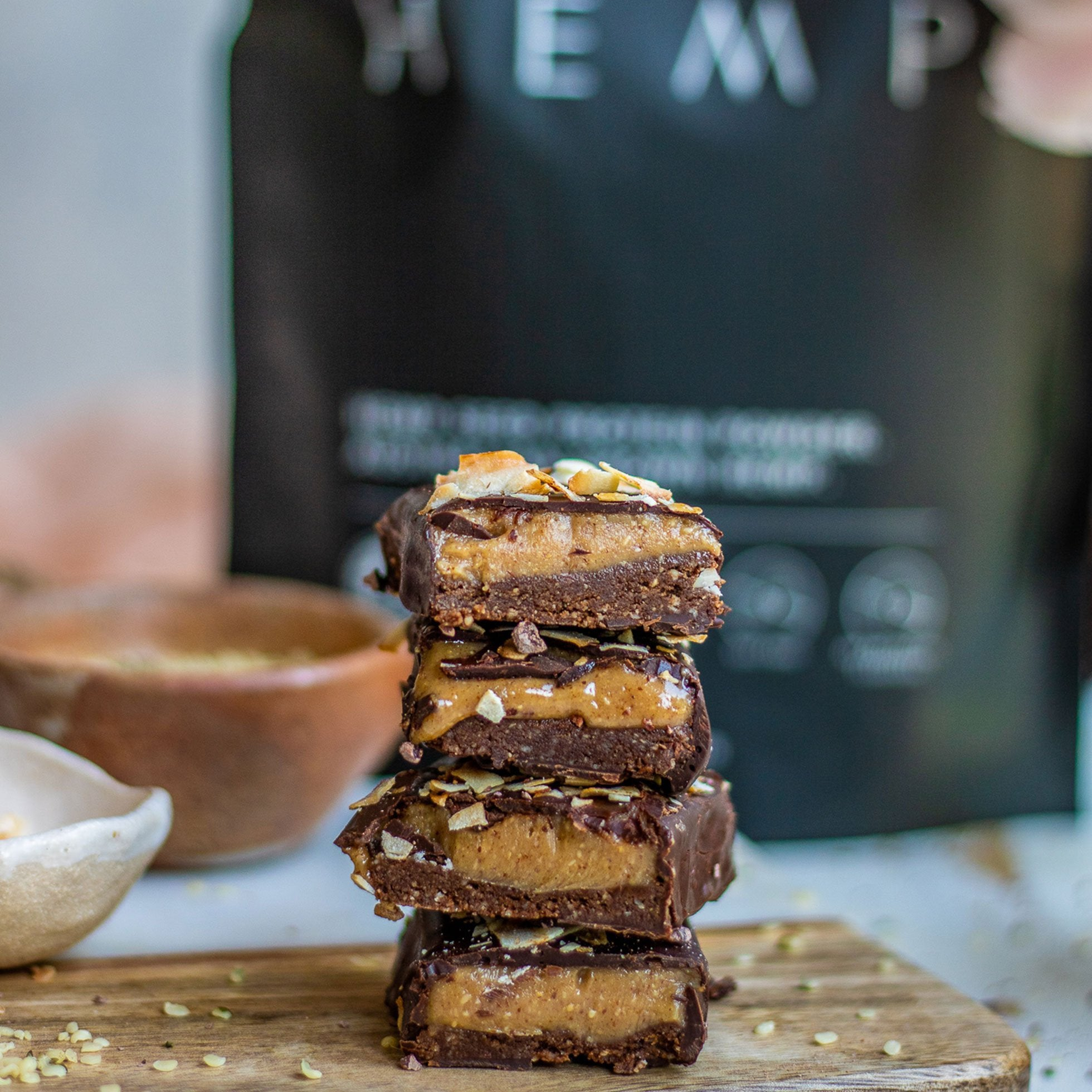 Chocolate Caramel Hemp Protein Bars