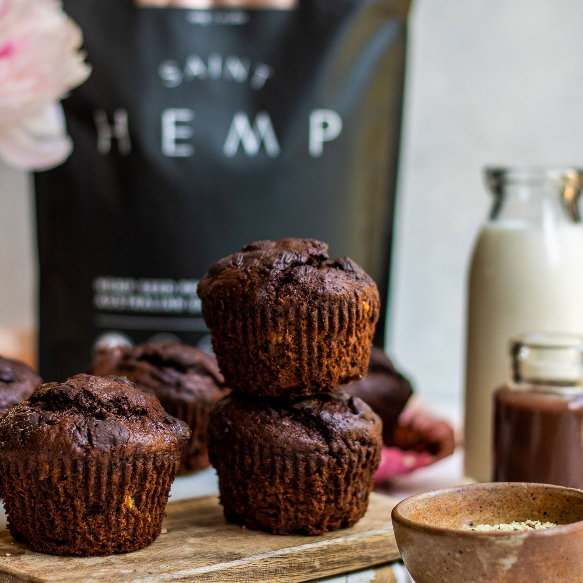 Double Chocolate Hemp Protein Muffins