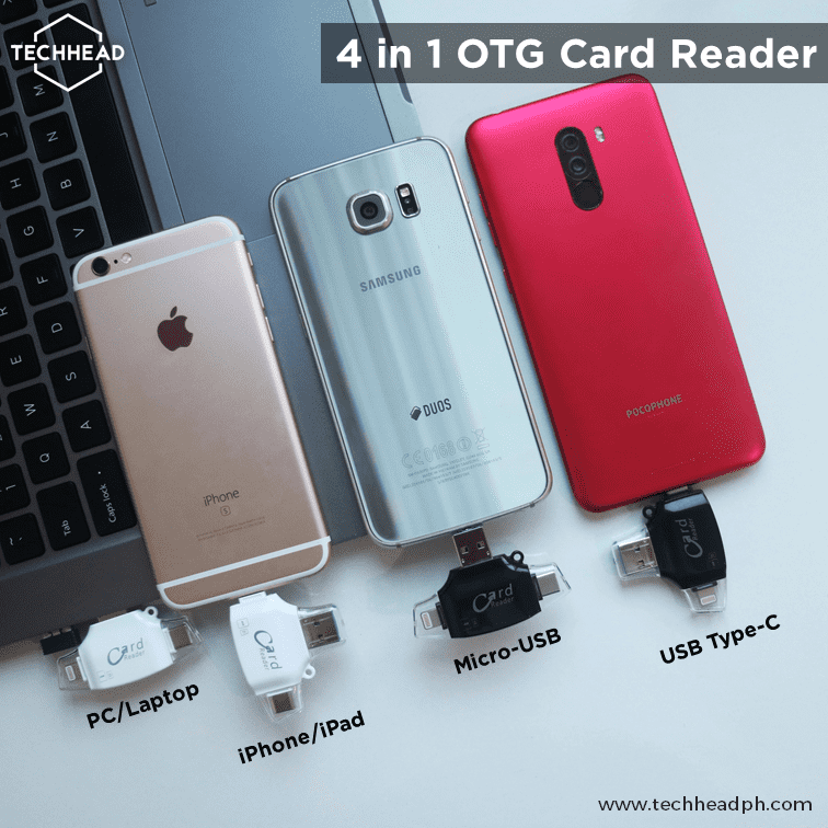TechHeadPH OTG White 4-in-1 OTG Card Reader