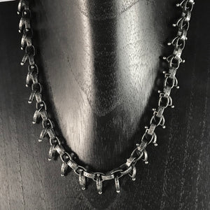FRINGE OXIDIZED SILVER SMALL TOGGLE SHORT CHAIN