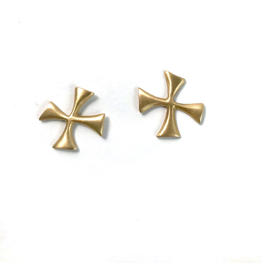 "14K BIG ""X"" MAP MARKER CROSS EARRINGS"