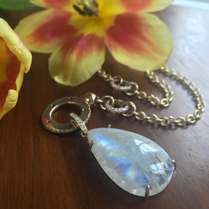 14K MOONSTONE AND DIAMOND DETACHABLE CHARM