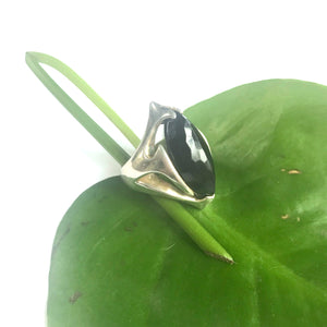 SILVER BLACK AGATE URSA RINGS SIZES 4.5,5,5.5,