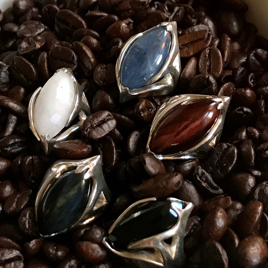 RED TIGER EYE SILVER URSA RINGS SIZE 5.5,6.5,9