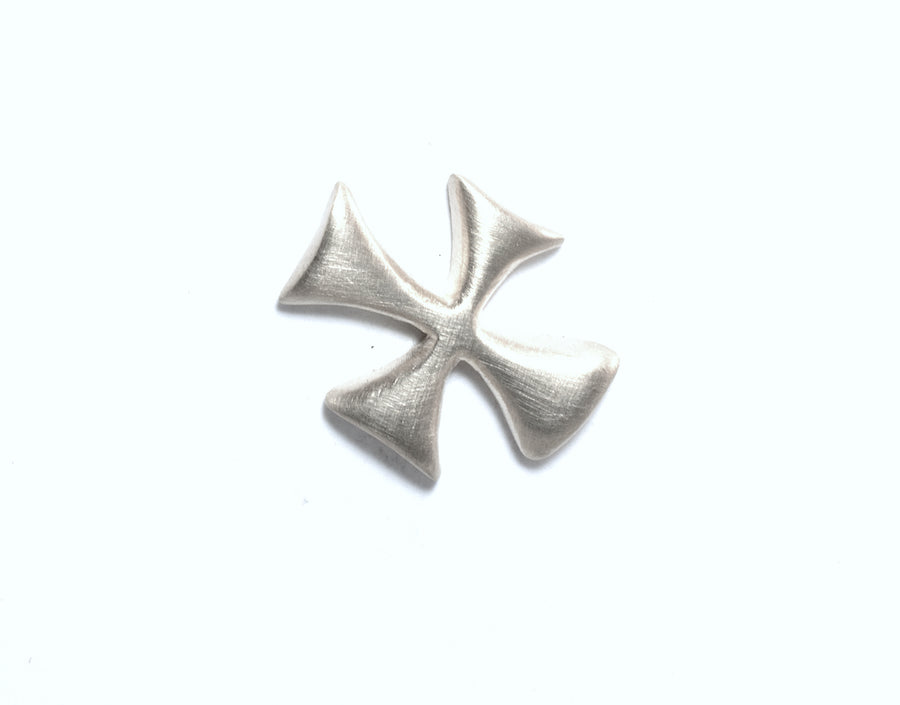 SATIN SILVER LITTLE X MAP MARKER CROSS EARRINGS